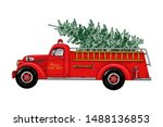 Christmas Fire Engine. Vintage...