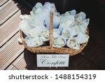 Confetti In Basket At Wedding