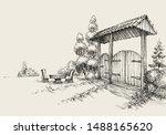 rustsic wooden gate  farm... | Shutterstock .eps vector #1488165620