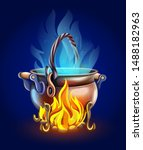 fairy tale pot with magic of...   Shutterstock .eps vector #1488182963
