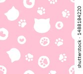 paw seamless pattern. hand... | Shutterstock .eps vector #1488184220
