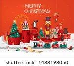 christmas toyshop winter... | Shutterstock .eps vector #1488198050