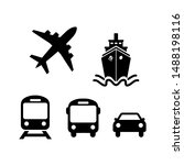 transport icons. airplane  ship ...