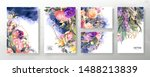 wedding invitation frame set ... | Shutterstock .eps vector #1488213839