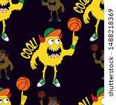 cute kids monster pattern for... | Shutterstock .eps vector #1488218369