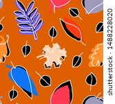 graphics leaves on orange... | Shutterstock . vector #1488228020