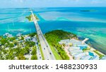 Amazing nature of Florida Keys, Marathon island, Seven Mile Bridge road. Endless way. USA.