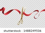 grand opening cutting red ribbon | Shutterstock .eps vector #1488249536