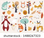 cute autumn woodland animals... | Shutterstock .eps vector #1488267323