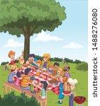 cartoon friends having a... | Shutterstock .eps vector #1488276080