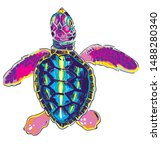 Sea Turtle. Colorful Pattern In ...