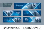 Stock vector abstract banner design web template set horizontal header web banner modern geometric blue 1488289910