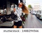 lovable confident blond woman... | Shutterstock . vector #1488294566