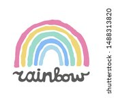 colorful hand drawn rainbow...   Shutterstock .eps vector #1488313820