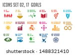 icon set of the global goals.... | Shutterstock .eps vector #1488321410