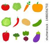 vegetables flat icon set  logo... | Shutterstock .eps vector #1488356753