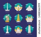 indonesia landmarks flat vector ... | Shutterstock .eps vector #1488366599