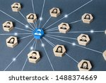 the leader is connected with... | Shutterstock . vector #1488374669