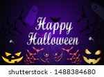 happy halloween  horizontal... | Shutterstock .eps vector #1488384680