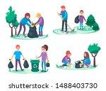 boys and girls take away litter ... | Shutterstock .eps vector #1488403730
