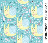 seamless pattern with snail.... | Shutterstock .eps vector #1488408320