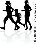 running  family   black... | Shutterstock .eps vector #1488413306