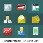 flat icons  business and money...