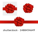 vector realistic red bow made... | Shutterstock .eps vector #1488454649