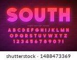 neon light alphabet ...   Shutterstock .eps vector #1488473369