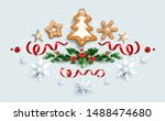 decorative banner with baubles  ... | Shutterstock .eps vector #1488474680
