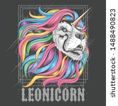lion leo rainbow hair unicorn...   Shutterstock .eps vector #1488490823