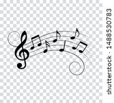 music notes  waves with swirls  ...   Shutterstock .eps vector #1488530783