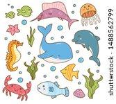 set of sea animal kawaii doodles | Shutterstock .eps vector #1488562799