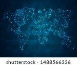 abstract mash line and point... | Shutterstock .eps vector #1488566336