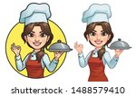 cartoon female chef  vector eps ... | Shutterstock .eps vector #1488579410