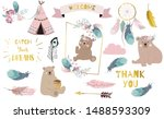 bohemian animal object set with ... | Shutterstock .eps vector #1488593309