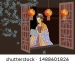 ancient chinese beautiful woman ... | Shutterstock .eps vector #1488601826