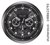 realistic black silver clock... | Shutterstock .eps vector #1488613793