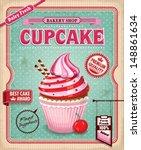 vintage cupcake poster design | Shutterstock .eps vector #148861634