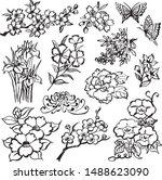 set of asian flower icons. hand ...   Shutterstock .eps vector #1488623090