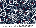 seamless pattern with floral... | Shutterstock .eps vector #1488683756