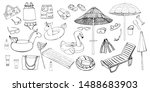Vector Sketch Beach Items. Han...