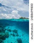 Small photo of Tropical island split shot underwater, Raja Ampat, West Papua