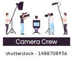 camera crew flat vector... | Shutterstock .eps vector #1488708956