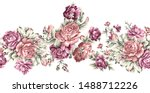 seamless dry rose flower border | Shutterstock . vector #1488712226