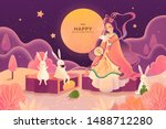 Stock vector dreamy color tone mid autumn festival chang e and jade rabbit enjoy moon watching and sit on 1488712280
