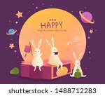 Stock vector happy mid autumn festival with lovely jade rabbits sit on giant mooncake and enjoy moon watching 1488712283