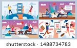 online and speed date  romantic ... | Shutterstock .eps vector #1488734783