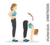 bend forward exercise. woman...   Shutterstock .eps vector #1488740336