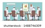 arab businessmen meeting flat... | Shutterstock .eps vector #1488746309